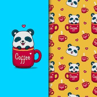 Cute panda on the coffee cup. seamless pattern.