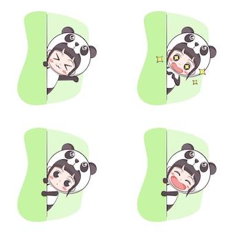 Cute panda costume girl hiding cartoon illustration