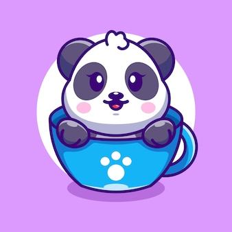 Cute panda on cup coffee cartoon