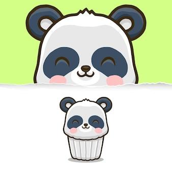 귀여운 팬더 컵 케이크, 동물 캐릭터 디자인.
