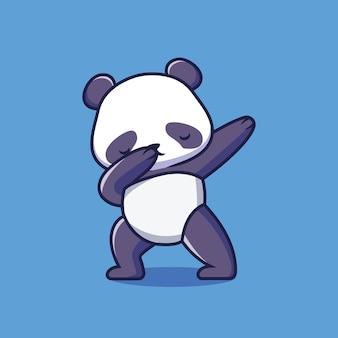 かわいいパンダを軽くたたく漫画イラスト