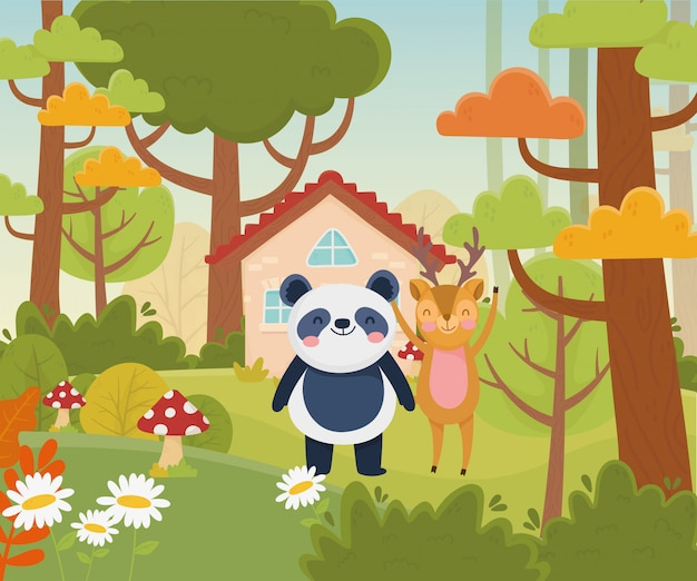 Cute panda and deer house trees fowers nature  vector illustration
