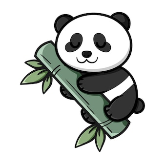 대나무와 귀여운 팬더 디자인