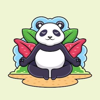 ヨガ漫画をやっているかわいいパンダ。動物のイラスト、ベージュの背景に分離