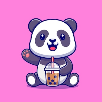 Cute panda drink boba milk tea cartoon vector icon illustration. animal drink icon concept isolated premium vector. flat cartoon style
