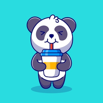 Cute panda drink coffee cartoon icon illustration.