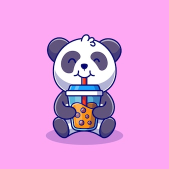 Cute panda drinking boba milk tea cartoon   icon illustration animal food icon concept isolated    . flat cartoon style