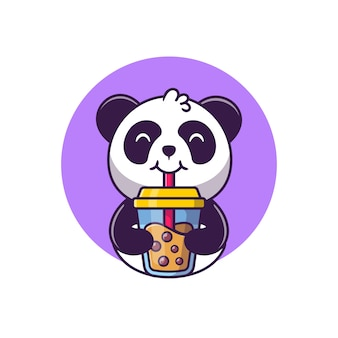 Cute panda drinking boba milk tea cartoon vector  illustration animal food  concept isolated  vector. flat cartoon style