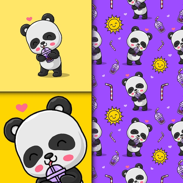 Cute panda drinking bubble ice. seamless pattern and card.