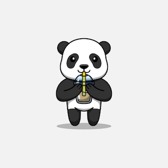 Cute panda drinking a cup coffee