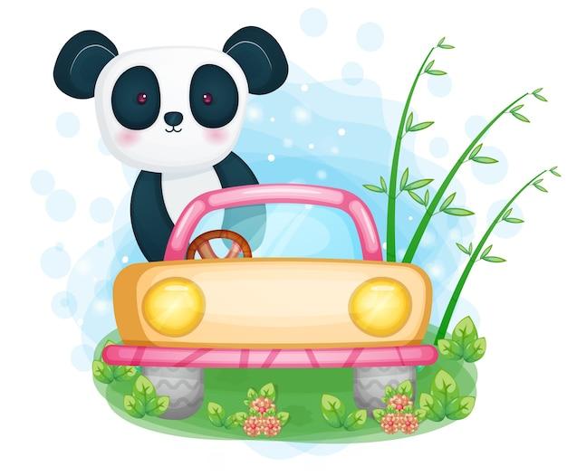 かわいいパンダの運転車のイラスト
