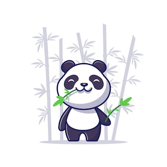 Cute panda eat bamboo cartoon   icon illustration. animal icon concept isolated  . flat cartoon style