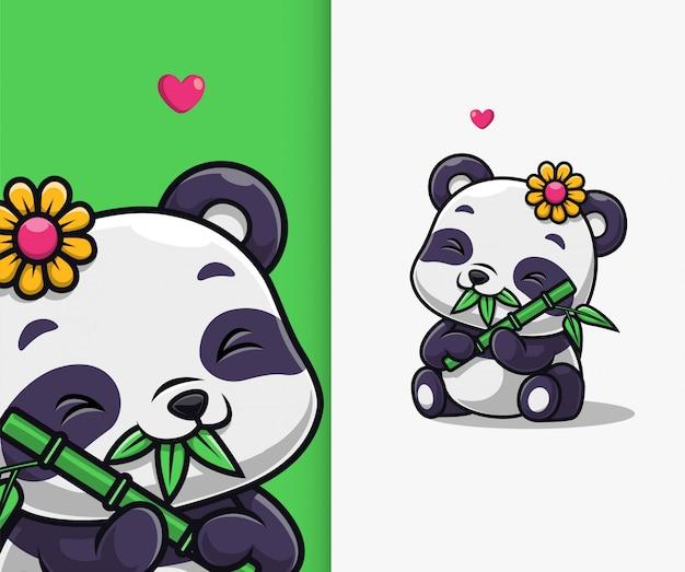 Cute panda eat bamboo icon illustration. panda mascot cartoon character.
