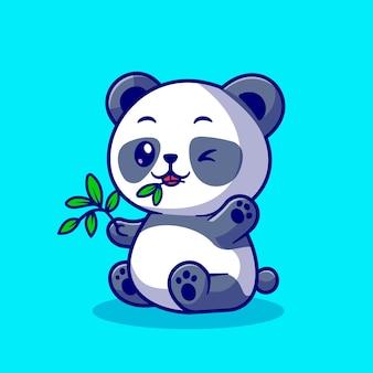 Cute panda eat bamboo leaf cartoon vector icon illustration. animal nature icon concept isolated premium vector. flat cartoon style