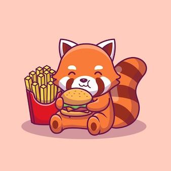 かわいいパンダ食べるハンバーガーとフレンチフライドアイコンイラスト。分離された動物性食品アイコンコンセプト。フラット漫画スタイル