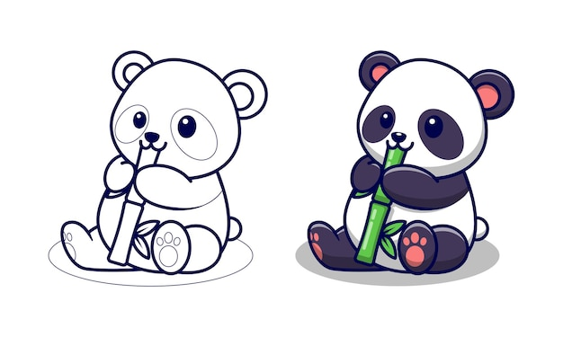 Раскраски для детей из мультфильма милая панда ест бамбук