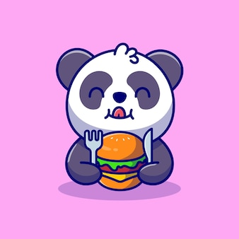 Cute panda eating burger with fork and knife cartoon icon illustration.