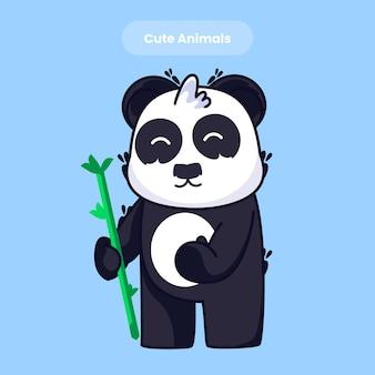 Cute panda eating cartoon vector icon illustration