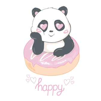 Cute panda eating donut flat  illustration.