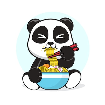 Cute panda eating a egg ramen noodle cartoon illustration.
