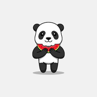 신선한 수박을 먹는 귀여운 팬더