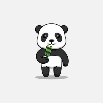 Cute panda eating ice cream