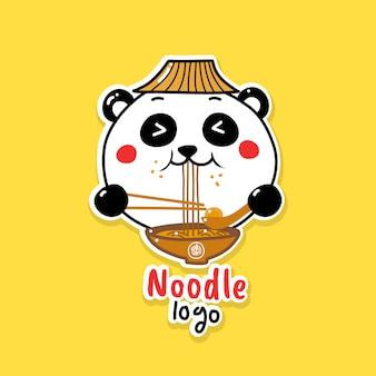 Cute panda eating noodle food logo