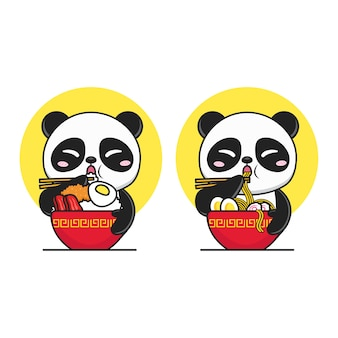 Cute panda eating rice and noodle in red bowl logo