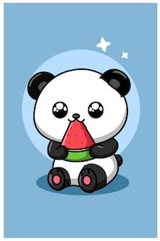 Cute panda eating watermelon animal cartoon illustration