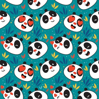 Cute panda emoticon pattern seamless