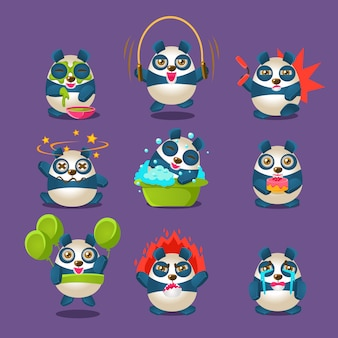 Cute panda emotions and activities collection with humanized cartoon character doing different things