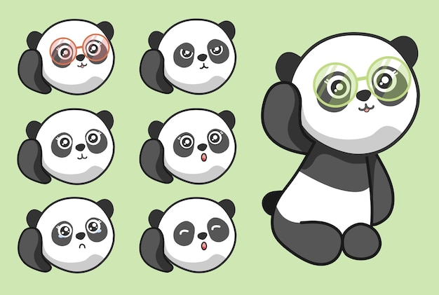 Cute panda face emotion with eye glasses