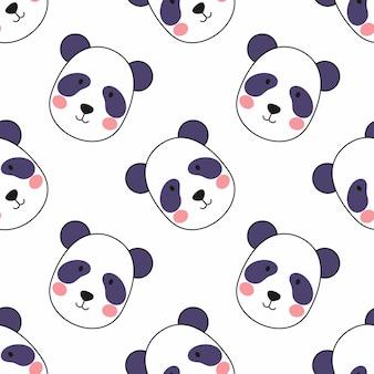 白い背景の上のかわいいパンダの顔。洋服の縫製や生地へのプリントのシームレスパターン。紙やノートの表紙を包むための壁紙。
