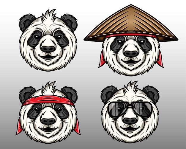 Cute panda face set with hat vector illustration