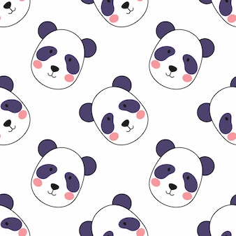 Cute panda face on white background. seamless pattern for sewing clothes and printing on fabric. wallpaper for wrapping paper and notebook covers.