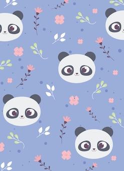 Симпатичные панды лица цветы листья украшение фон