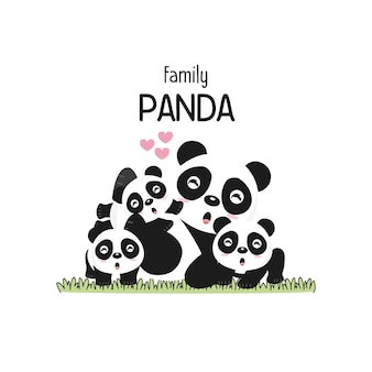 Cute panda family father mother and baby.