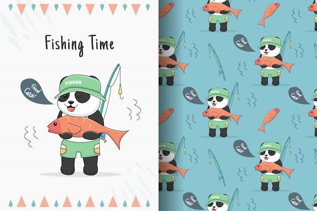 Симпатичная панда, рыбалка, бесшовные модели и пачка карт