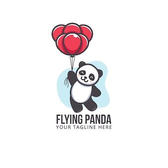 赤い風船で飛んでいるかわいいパンダ。漫画のロゴ