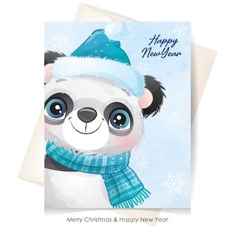 水彩イラストとクリスマスのためのかわいいパンダ