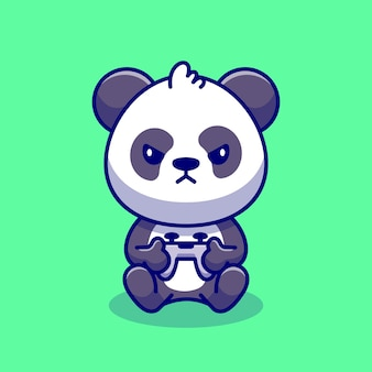 Cute panda gaming cartoon icon illustration. animal technology icon concept premium. flat cartoon style