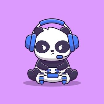 Cute panda gaming illustration. animal game    . flat cartoon style