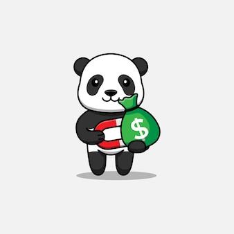 Милая панда достает сумку с деньгами с магнитом