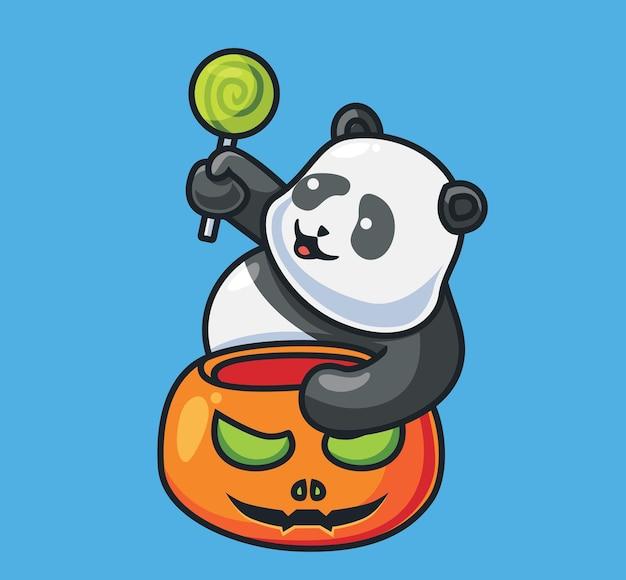 귀여운 팬더는 사탕을 얻습니다 격리 된 만화 동물 할로윈 그림 플랫 스타일에 적합