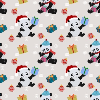 Cute panda and gift with christmas hat pattern.