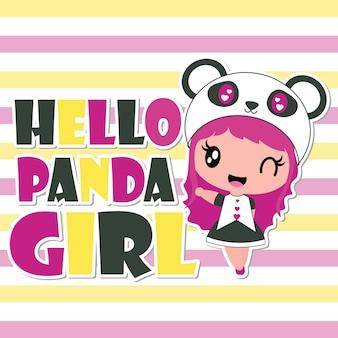 Cute panda girl says hello vector cartoon illustration