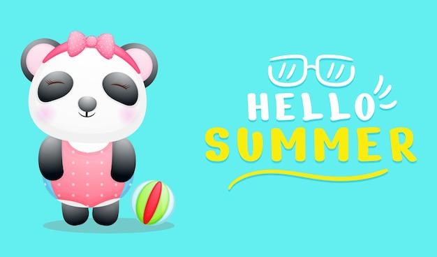 夏のグリーティング バナーでかわいいパンダの女の子