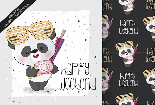 Cute panda happy adventure with seamless pattern