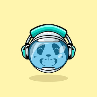 Cute panda head inside the astronaut helmet and using headphone