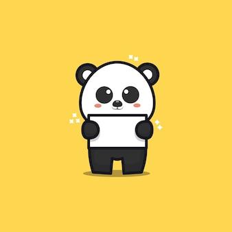 Cute panda hold banner cartoon illustration